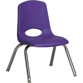 "ECR4Kids Classroom Stack Chair with Feet Glides - 12"" - Purple - Pkg Qty 6"