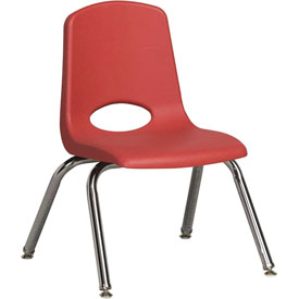 "ECR4Kids Classroom Stack Chair with Feet Glides - 12"" - Red - Pkg Qty 6"