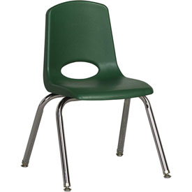 "ECR4Kids Classroom Stack Chair with Feet Glides - 14"" - Green - Pkg Qty 6"