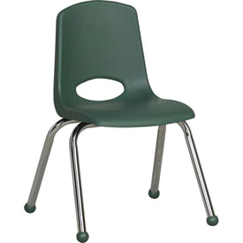 "ECR4Kids Classroom Stack Chair - 14"" - Hunter Green - Pkg Qty 6"