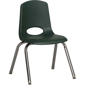 "ECR4Kids Classroom Stack Chair with Feet Glides - 14"" - Hunter Green - Pkg Qty 6"