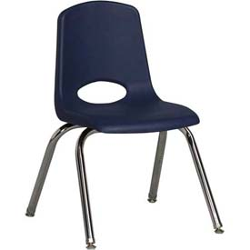 "ECR4Kids Classroom Stack Chair with Feet Glides - 14"" - Navy - Pkg Qty 6"
