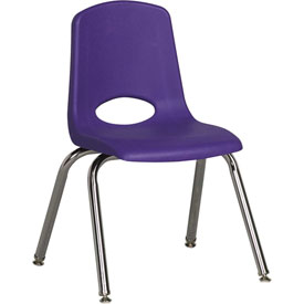 "ECR4Kids Classroom Stack Chair with Feet Glides - 14"" - Purple - Pkg Qty 6"
