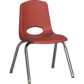 "ECR4Kids Classroom Stack Chair with Feet Glides - 14"" - Red - Pkg Qty 6"