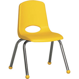 "ECR4Kids Classroom Stack Chair - 14"" - Yellow - Pkg Qty 6"