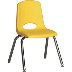 "ECR4Kids Classroom Stack Chair with Feet Glides - 14"" - Yellow - Pkg Qty 6"