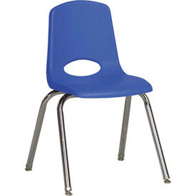"ECR4Kids Classroom Stack Chair with Feet Glides - 16"" - Blue - Pkg Qty 6"