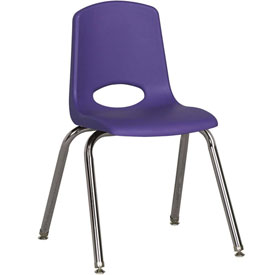 "ECR4Kids Classroom Stack Chair with Feet Glides - 16"" - Purple - Pkg Qty 6"