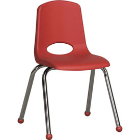 "ECR4Kids Classroom Stack Chair - 16"" - Red - Pkg Qty 6"