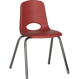 "ECR4Kids Classroom Stack Chair with Feet Glides - 18"" - Red - Pkg Qty 5"