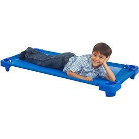 Ecr4kids® Stackable Standard Kiddie Cot, Assembled, Blue, Priced Ea, Sold 5/PK - Pkg Qty 5
