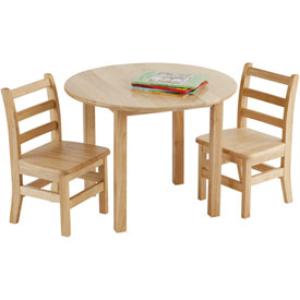 "30"" Round Hardwood Table and (2) Chairs Set"