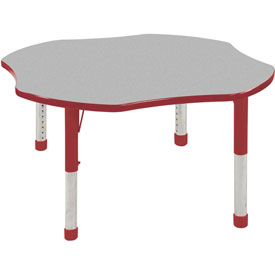 """48"""" Clover Adj Activity Table Gray Top Red Edge Red Chunky Leg Ball Glide"""