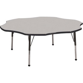 "ECR4Kids® 60"" Flower Adj Activity Table Gray Top Black Edge Standard Legs Ball Glide"