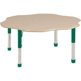 "60"" Flower Adj Activity Table Maple Top Maple Edge Green Chunky Leg Ball Glide"