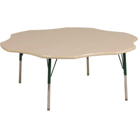 "60"" Flower Adj Activity Table Maple Top Maple Edge Green Chunky Leg Swivel Glide"
