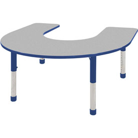 60x66 Horseshoe Activity Table Gray Top Blue Edge Blue Chunky Leg Ball Glide