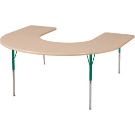 60x66 Horseshoe Activity Table Maple Top Green Juvenile Leg Swivel Glide