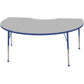 48x72 Kidney Activity Table Gray Top Blue Edge Blue Std Leg Ball Glide