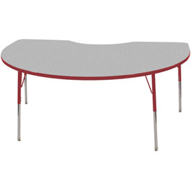 48x72 Kidney Activity Table Gray Top Red Edge Red Std Leg Swivel Glide