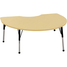 48x72 Kidney Activity Table Maple Top Maple Edge Black Juvenile Leg Ball Glide