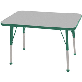 "24"" x 36"" Rectangular Activity Table - Gray Top Green Edge Green Juvenile Leg Ball Glide"