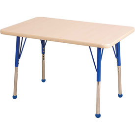 "24"" x 36"" Rectangular Activity Table - Maple Top Maple Edge Blue Standard Leg Ball Glide"