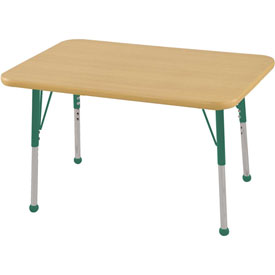 "24"" x 36"" Rectangular Activity Table - Maple Top Maple Edge Green Juvenile Leg Ball Glide"