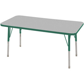 "24"" x 48"" Rectangular Activity Table - Gray Top Green Edge Green Juvenile Leg Swivel Glide"