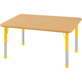 "24"" x 48"" Rectangular Activity Table - Maple Top Maple Edge Yellow Chunky Leg Ball Glide"