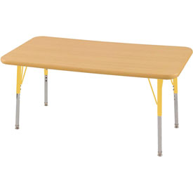 "24"" x 48"" Rectangular Activity Table - Maple Top Maple Edge Yellow Standard Leg Swivel Glide"