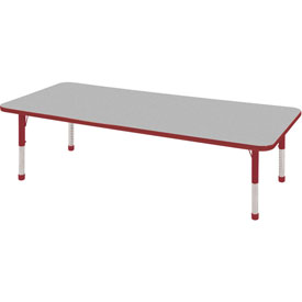 "24"" x 72"" Rectangular Activity Table - Gray Top Red Edge Red Chunky Leg Ball Glide"
