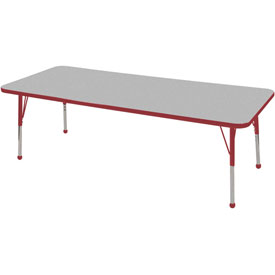 "24"" x 72"" Rectangular Activity Table - Gray Top Red Edge Red Juvenile Leg Ball Glide"