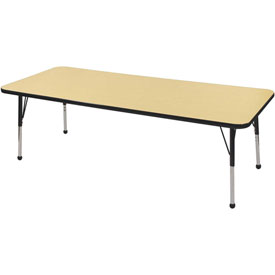 "24"" x 72"" Rectangular Activity Table - Maple Top Black Edge Black Juvenile Leg Ball Glide"