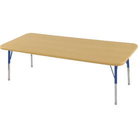 "24"" x 72"" Rectangular Activity Table - Maple Top Maple Edge Blue Standard Leg Swivel Glide"