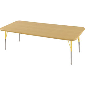 "24"" x 72"" Rectangular Activity Table - Maple Top Maple Edge Yellow Juvenile Leg Swivel Glide"