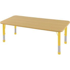 "30"" x 60"" Rectangular Activity Table - Maple Top Maple Edge Yellow Chunky Leg Ball Glide"