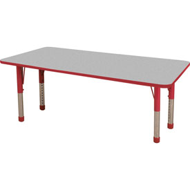 """36"""" x 72"""" Rectangular Activity Table - Gray Top Red Edge Red Chunky Leg Ball Glide"""