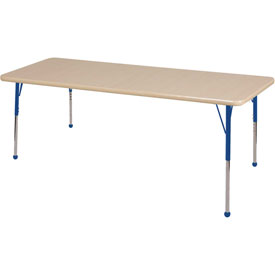 "36"" x 72"" Rectangular Activity Table - Maple Top Maple Edge Blue Juvenile Leg Ball Glide"