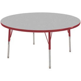 """48"""" Round Adj Activity Table Gray Top Red Edge Red Juvenile Leg Swivel Glide"""