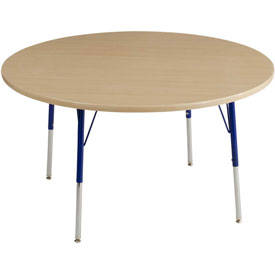 "48"" Round Adj Activity Table Maple Top Maple Edge Blue Juvenile Leg Swivel Glide"