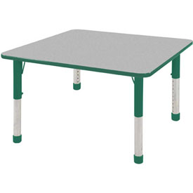 "30"" Square Adj Activity Table Gray Top Green Edge Green Chunky Leg Ball Glide"