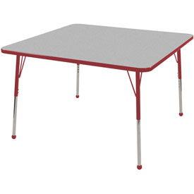 "30"" Square Adj Activity Table Gray Top Red Edge Red Std Leg Ball Glide"