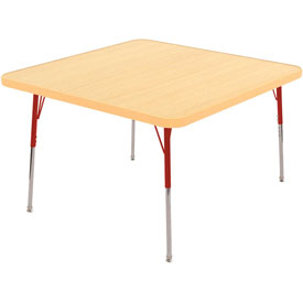 "30"" Square Adj Activity Table Maple Top Maple Edge Red Std Leg Swivel Glide"
