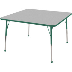 "48"" Square Adj Activity Table Gray Top Green Edge Green Juvenile Leg Ball Glide"
