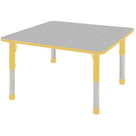 "48"" Square Adj Activity Table Gray Top Ylw Edge Ylw Chunky Leg Ball Glide"