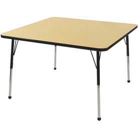 "48"" Square Adj Activity Table Maple Top Black Edge Black Std Leg Ball Glide"