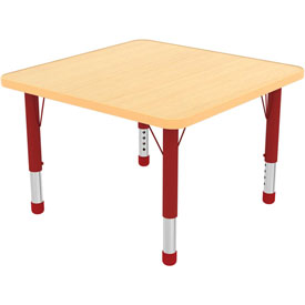 "48"" Square Adj Activity Table Maple Top Maple Edge Red Chunky Leg Ball Glide"
