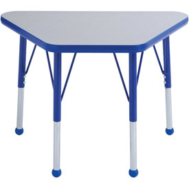 20x33 Trapezoid Activity Table Gray Top Blue Edge Blue Std Leg Ball Glide