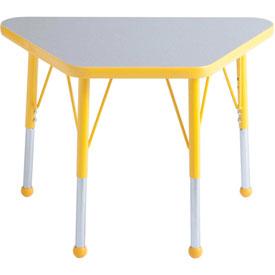 20x33 Trapezoid Activity Table Gray Top Ylw Edge Ylw Std Leg Ball Glide